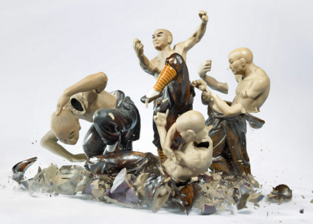 Porcelain Martial Arts Figurines In Action