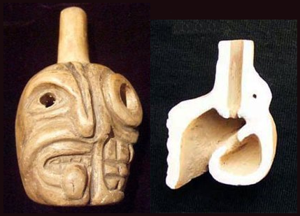 Replica Aztec Death Whistle (with typical cross section).