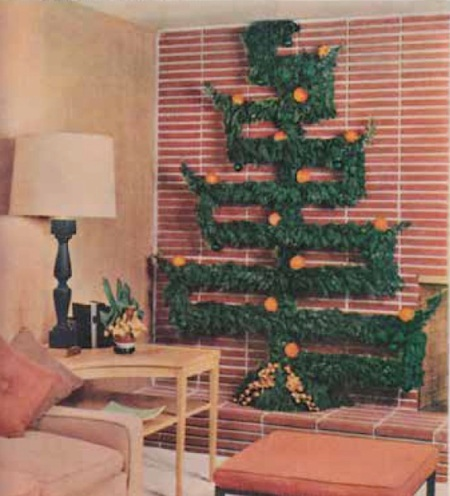 a geometric tree made from greenery found outdoors was described in a december 1956 better homes and gardens spread called decorate with natures gifts